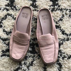 Pink leather slip on loafer